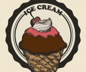 Chocolate ice cream vintage cards vectors set 12