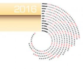 Circular Calendar 2016 abstract vector