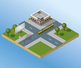 City buildings flat template vector 02
