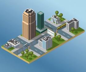 City buildings flat template vector 06
