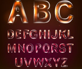 Colored Transparent alphabets vector 01