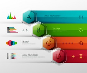Colored banner infographics elements vector 02