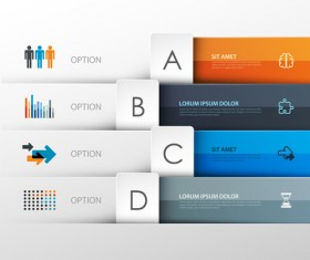 Colored banner infographics elements vector 04
