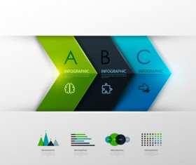 Colored banner infographics elements vector 05
