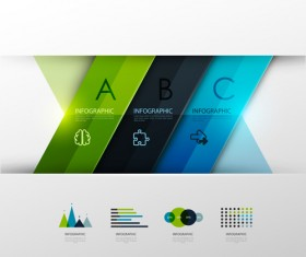 Colored banner infographics elements vector 06