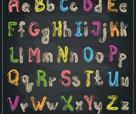 Colored chalk alphabet vector material