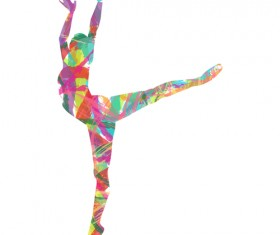 Colorful paint with girl dancing vector 01