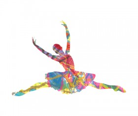 Colorful paint with girl dancing vector 02