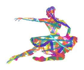 Colorful paint with girl dancing vector 03