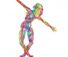 Colorful paint with girl dancing vector 04