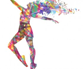 Colorful paint with girl dancing vector 05