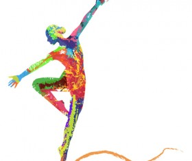 Colorful paint with girl dancing vector 06