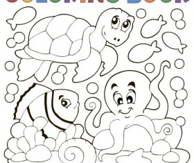 Coloring picture sea world vector template 08