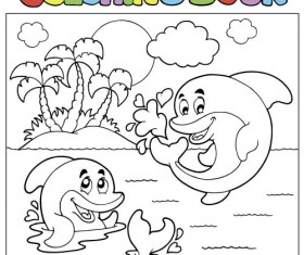 Coloring picture sea world vector template 10