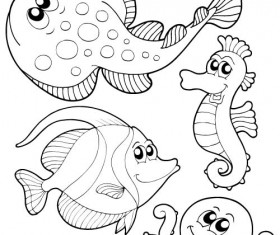 Coloring picture sea world vector template 13