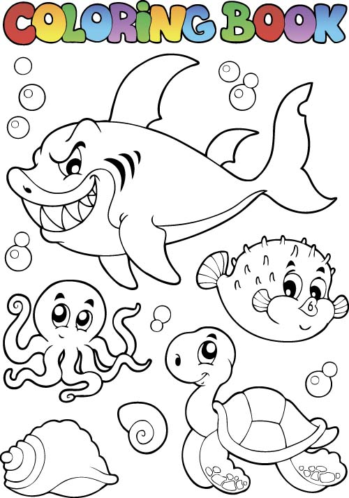 Coloring Picture Sea World Vector Template 14 Vector