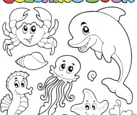 Coloring picture sea world vector template 15