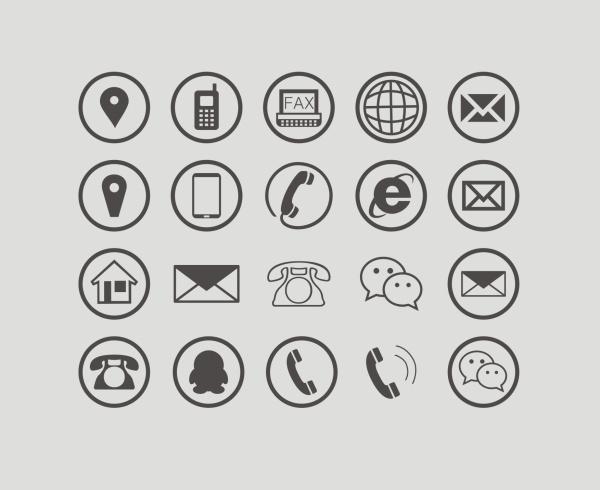 Communications circular icons free vector