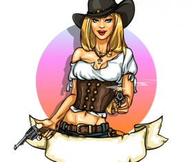 Cowboy girl with vintage labels vector 02