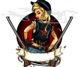 Cowboy girl with vintage labels vector 05