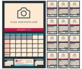 Desk calendar 2016 with your photo vector 04