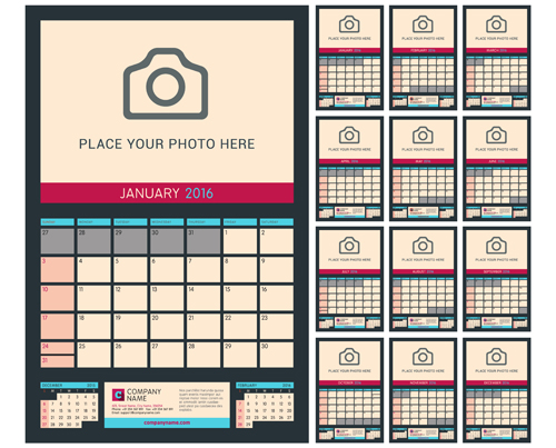 desk calendar 2016 with your photo vector 04 free download