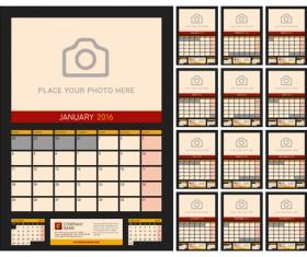Desk calendar 2016 with your photo vector 06