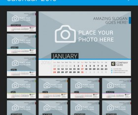 Desk calendar 2016 with your photo vector 07
