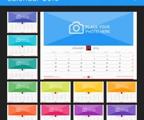 Desk calendar 2016 with your photo vector 08