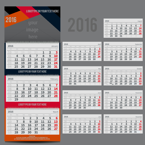 Table Calendar 2016 : Desk calendar template vector material free download