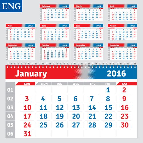 desk calendar template 2016 vector material 04 free download
