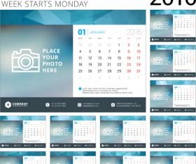 Desk calendar template 2016 vector material 05