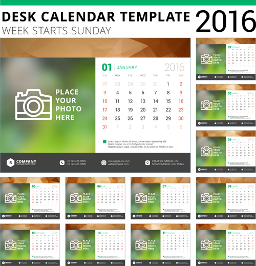 Table Calendar 2016 : Desk calendar template vector material