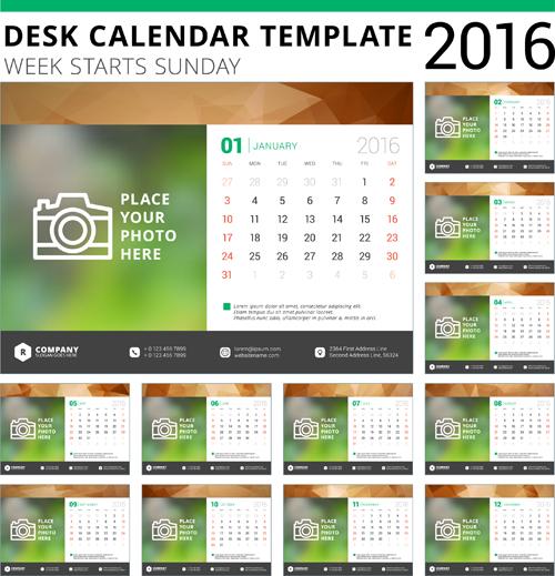 Calendar Design Templates Free Download : Desk calendar template vector material free download