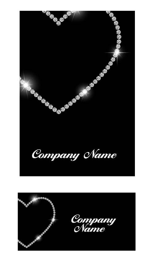 Diamond with heart shape cards vector 01