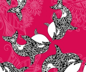 Dolphin with sea seamless pattern vector 02