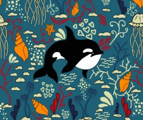 Dolphin with sea seamless pattern vector 04