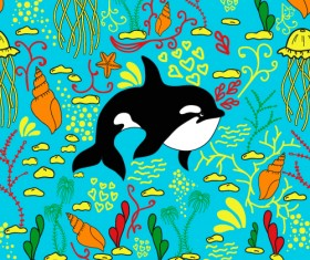 Dolphin with sea seamless pattern vector 05