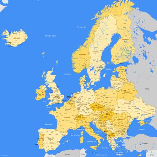Europe map vectors design 03