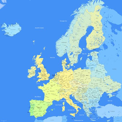 Europe map vectors design 04