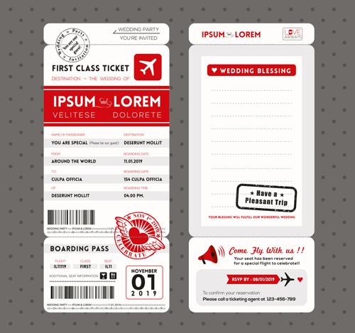First class ticket with wedding Invitation templates vector 02