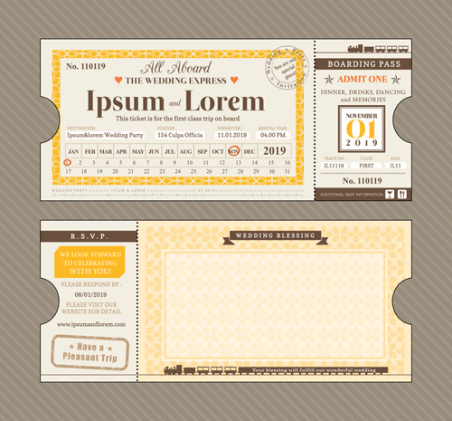 First Class Ticket With Wedding Invitation Templates Vector 03 Free