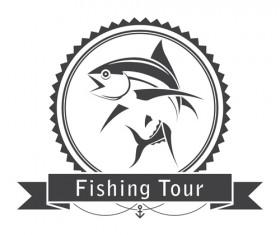 Fishing tour label vintage vector