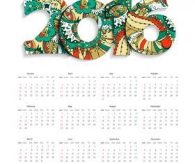 Floral pattern calendar 2016 vector 02