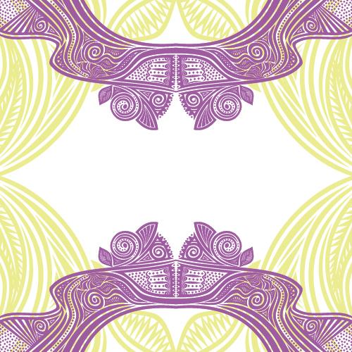 Floral tiling pattern vintage vector set 06