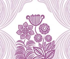 Floral tiling pattern vintage vector set 09