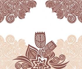 Floral tiling pattern vintage vector set 21