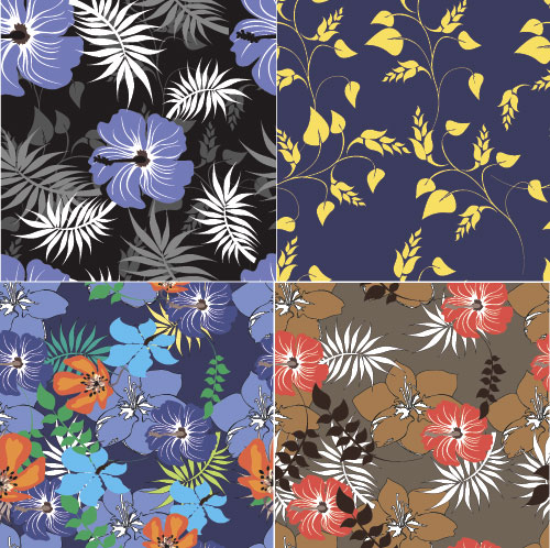 Flower vintage vector seamless pattern set 05