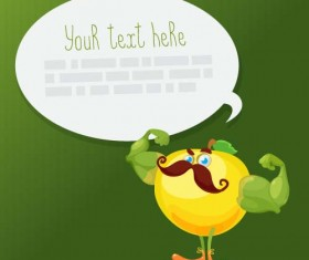 Funny apple with speech bubbles vecotor