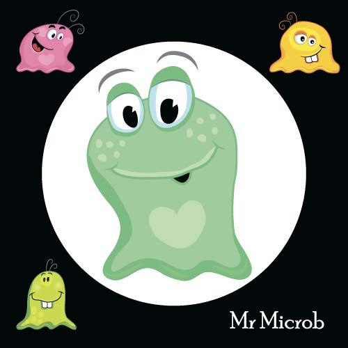 Funny cartoon bacteria and virus vector 07
